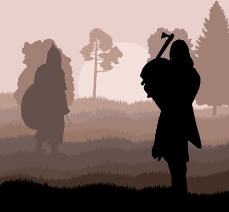 Medieval warrior, crusader vector background landscape concept Illustration