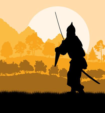 knights templar: Medieval warrior, crusader vector background landscape concept Illustration