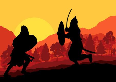 espadas medievales: Guerrero medieval, cruzado de fondo vector concepto de paisaje