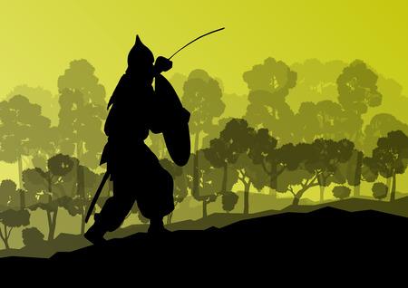 crusader: Medieval warrior, crusader vector background landscape concept Illustration