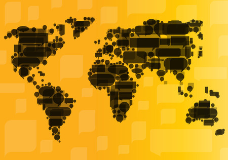 transnational: Globalization concept of business and communication vector background concept made of World map and speech bubbles Illustration