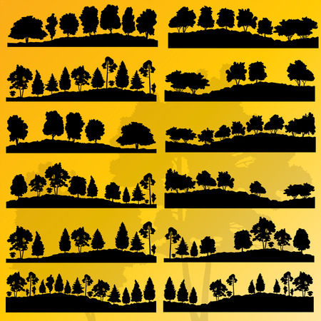 fall landscape: Forest trees silhouettes illustration collection background vector Illustration