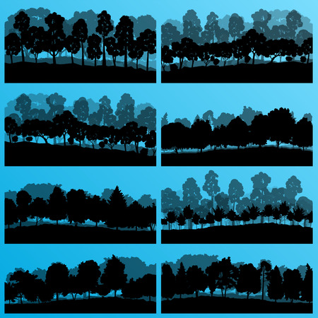 birch forest: Forest trees silhouettes illustration collection background vector Illustration