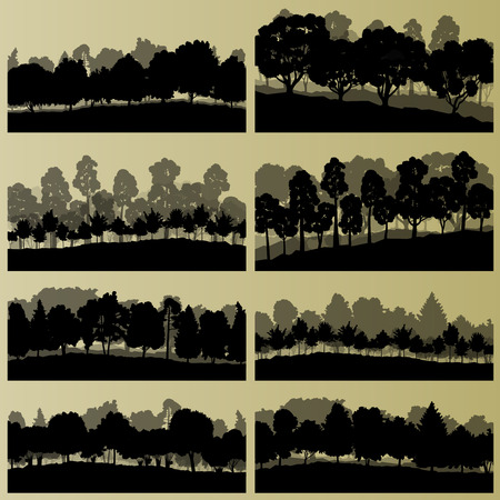 illustration collection: Forest trees silhouettes illustration collection background vector Illustration
