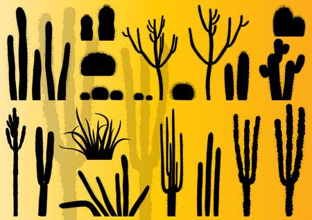 plantas del desierto: Los cactus detallada colección de ilustración de fondo vector conjunto