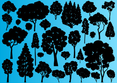 Forest trees silhouettes illustration collection background vector Vector