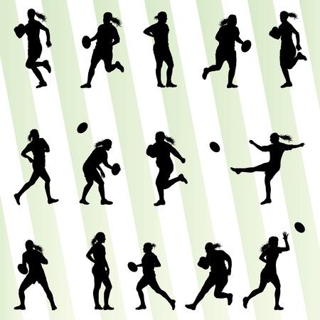 pelota rugby: El jugador de rugby silueta de la mujer de vectores de fondo conjunto