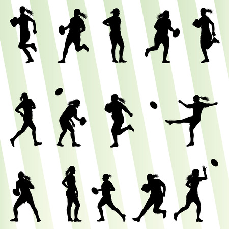 tough girl: Rugby player woman silhouette vector background set Illustration