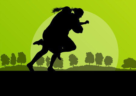 Woman rugby silhouette in countryside nature background illustration vector Vector