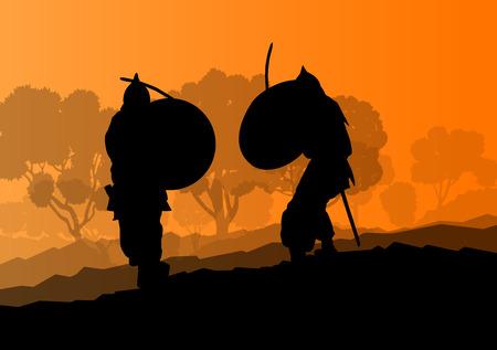 Medieval warrior, crusader vector background landscape concept Vetores