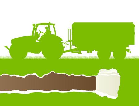 labranza: Alimentador de la agricultura con el acoplado de ma�z en el pa�s cultivado campo de grano paisaje de fondo ilustraci�n vectorial concepto de la ecolog�a con rasgados copia espacio papel