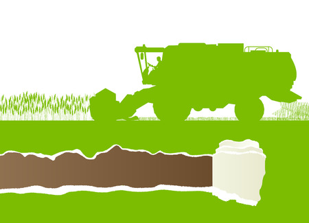 Agricultural combine harvester in grain field seasonal farming landscape scene illustration background vector ecology concept with ripped paper copy space Vector