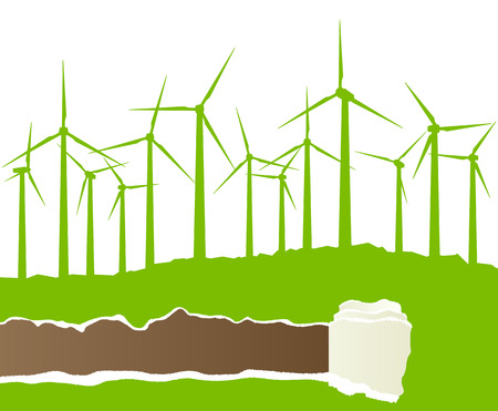 economize: Ecology wind generator vector background with ripped paper copy space