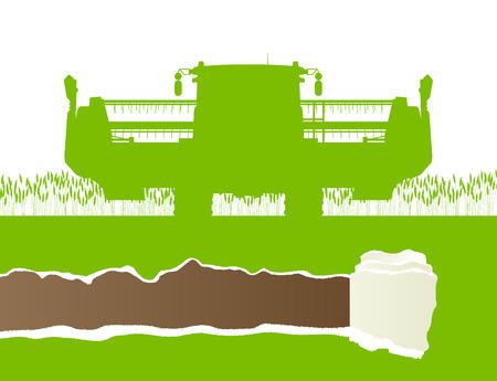 produits céréaliers: Agricole moissonneuse-batteuse dans le champ de la culture des céréales de saison scène de paysage illustration de fond concept de vecteur de l'écologie avec arraché espace de copie papier