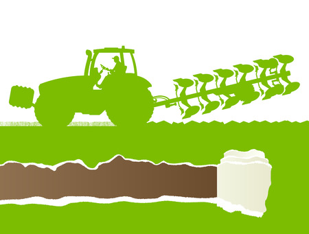 oat field: Agriculture tractor plowing the land in cultivated country grain field landscape background illustration vector ecology concept with ripped paper copy space