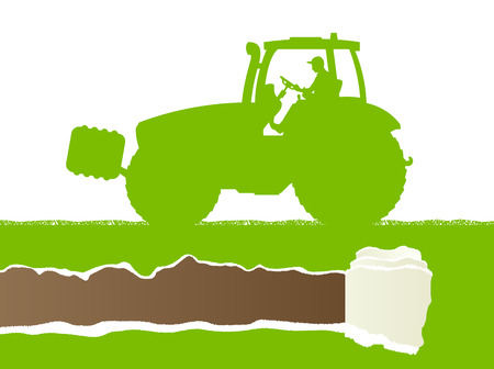 farmed: Farmers agriculture tractor in cultivated country grain field landscape background illustration vector ecology concept with ripped paper copy space Illustration