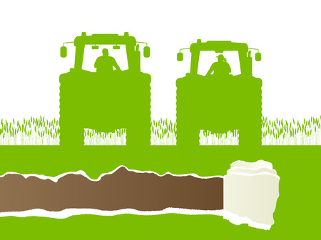 Farmers agriculture tractor in cultivated country grain field landscape background illustration vector ecology concept with ripped paper copy space Illustration