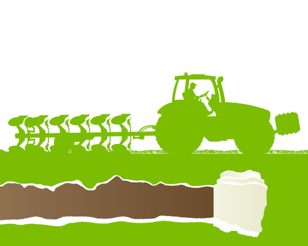 farmed: Agriculture tractor plowing the land in cultivated country grain field landscape background illustration vector ecology concept with ripped paper copy space