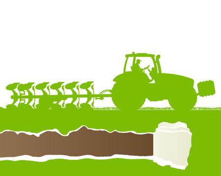 tillage: Tractor Agricultura arar la tierra cultivada en el pa�s, grano, campo paisaje de fondo ilustraci�n vectorial concepto de la ecolog�a con rasgados copia espacio papel