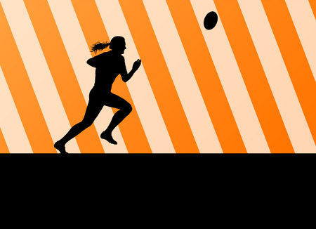 Rugby player woman silhouette vector background for poster Vector