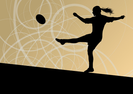 girl kick: Rugby player woman silhouette vector background for poster Illustration