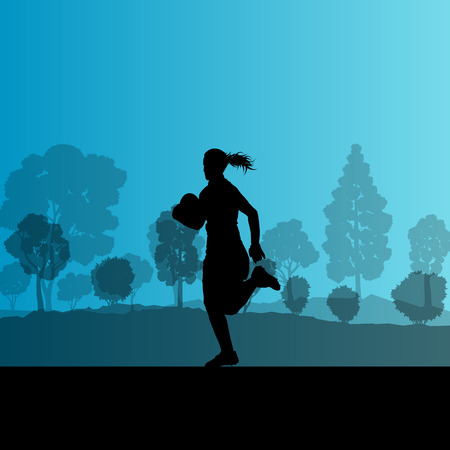 tough girl: Woman rugby silhouette in countryside nature background illustration vector Illustration