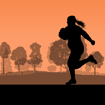 tough woman: Woman rugby silhouette in countryside nature background illustration vector Illustration