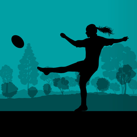 kick ball: Woman rugby silhouette in countryside nature background illustration vector Illustration