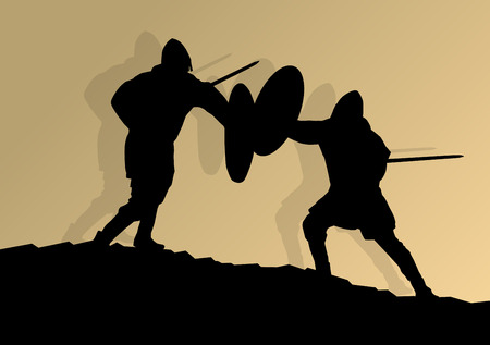 shilouette: Medieval knight, warrior fight vector background concept