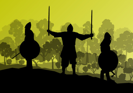 Il cavaliere, guerriero lotta vettore sfondo concetto Vettoriali
