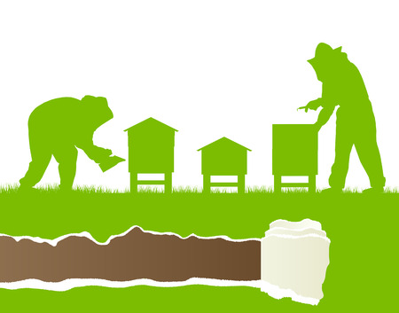 Beekeepers working in apiary vector background ecology concept card Vector