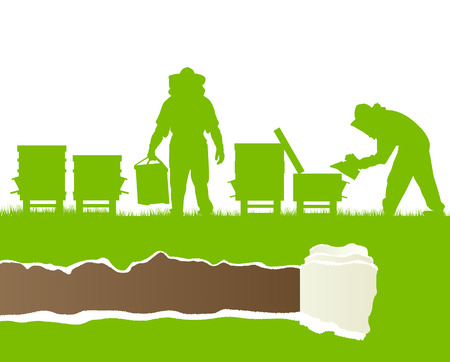 apiculture: Beekeepers working in apiary vector background ecology concept card