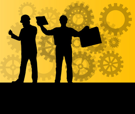 factory workers: Engineer in front of gear industry vector background concept Illustration