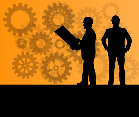 Engineer in front of gear industry vector background concept Illustration