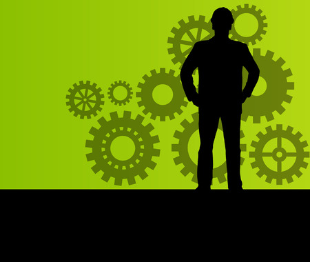 Engineer in front of gear industry vector background concept 矢量图片