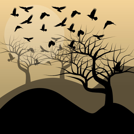 flaying: Halloween background vector concept with trees and raven Illustration