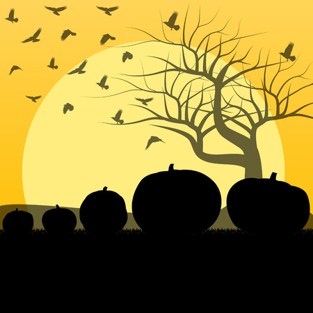 Halloween background vector concept with tree, raven and pumpkins for poster Vector