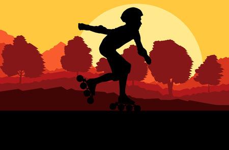 spring balance: Kid roller skating in park vector background concept