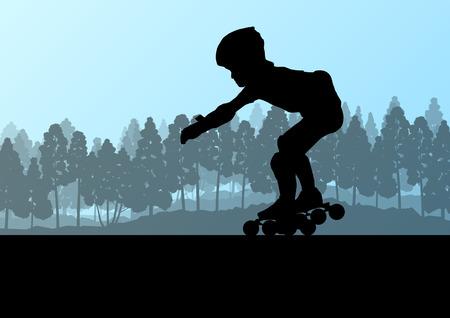 rollerblade: Kid roller skating in park vector background concept