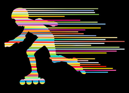 tendency: Roller skating silhouettes vector background winner concept made of stripes