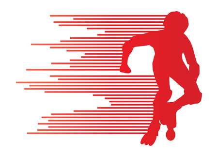 roller blade: Roller skating silhouettes vector background winner concept made of stripes