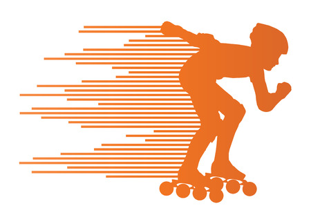skates: Roller skating silhouettes vector background winner concept made of stripes