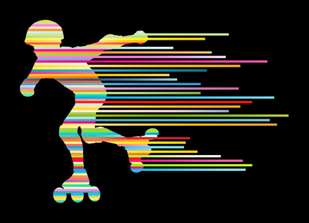 roller: Roller skating silhouettes vector background winner concept made of stripes