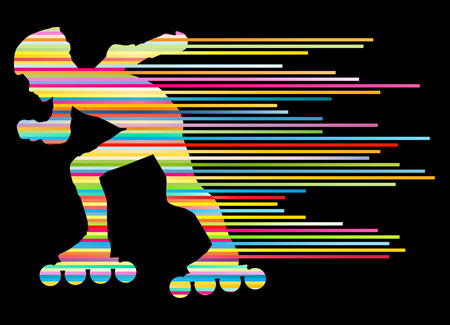 Roller skating silhouettes vector background winner concept made of stripes Vector