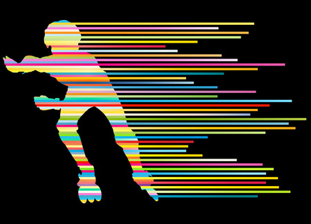 speed skating: Roller skating silhouettes vector background winner concept made of stripes