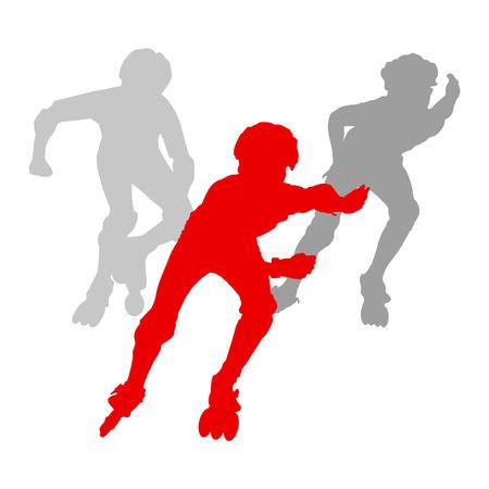 rollerblade: Kid roller skating vector background concept