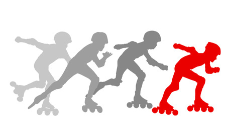 roller blade: Roller skating silhouettes vector background concept with reflection