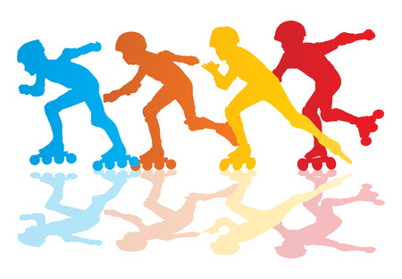 speed skating: Roller skating silhouettes vector background concept with reflection