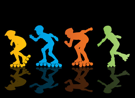 roller: Roller skating silhouettes