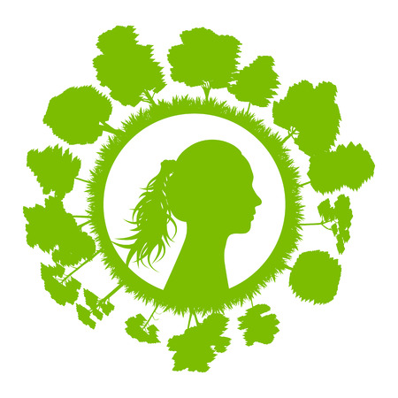 Woman head with tree green ecology concept  Vector